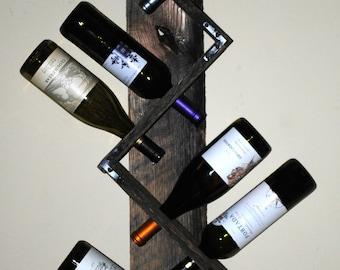 Reclaimed Wood Wall Wine Rack - 8 bottles