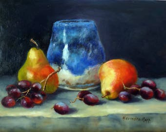 Pears and Grapes oil painting 9x12 by Alexandra Kopp