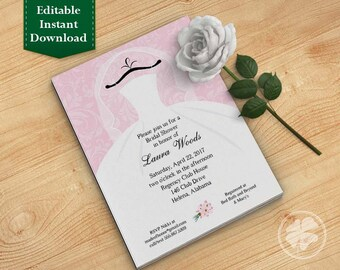 Pink Bridal Shower Invitation Template, Wedding Shower Invitations - Dress on Hanger