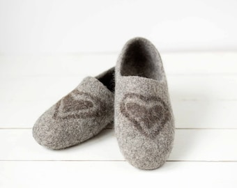 Womens slippers gray with gray hearts - best valentines day gift for her