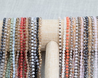 NEW COLORS!!! DOUBLE Wrap Layering Skinny Hand-Knotted Necklaces! 4mm very cute! 60 inches long