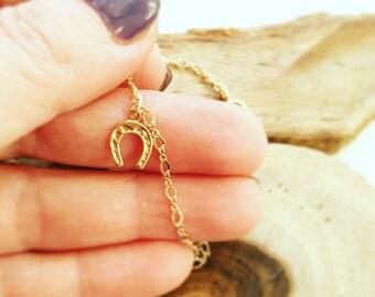 Gold bracelet, Charm Bracelet, Lucky charm, Gold Charm bracelet, Boho bracelet, Horseshoe Bracelet, Lucky bracelet, Dainty bracelet