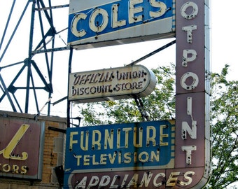 Chicago Photography, Lincoln Square, Ravenswood, North Center, mid-century vintage neon sign, Chicago Art, appliances, 50s - COLE'S