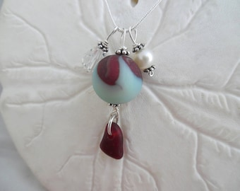 Red Sea Glass Marble Necklace Beach Jewelry Aqua Sterling Pendant