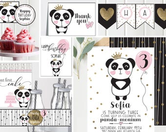 Panda Birthday Invitations and Decorations - Black White and Pink with Gold - Panda Princess - Girls Birthday - Full Collection - Digital