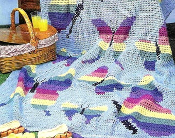 Vintage Crochet Pattern PDF Butterfly Wings Afghan    Throw Bed Cover Blanket Picnic Rug Rainbow