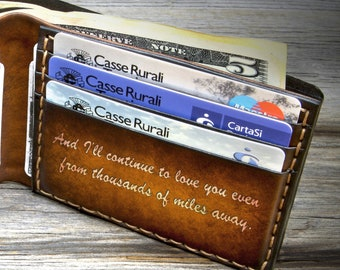 Boyfriend gift personalized leather wallet with custom quote engraved, Valentine's day gift for him, Men's leather wallet handmade in Italy