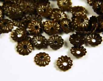 50 Pcs - 5mm Antique Bronze Bead Caps - Bronze Bead Caps - Antique Bronze Spacers - Bead End Caps - Jewelry Supplies