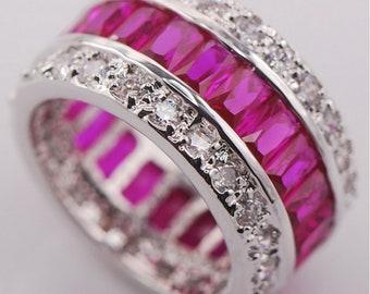 Crystal Ring-Silver Ring- pink Ring- Women's Ring- Colored Ring-Zirconium Ring-Silver Ring- women gift