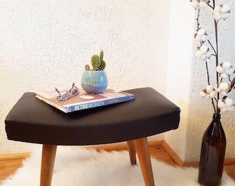 Vintage footstool /ottoman black faux leather 1960s