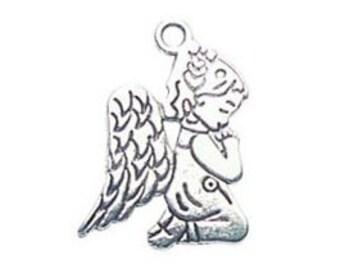 10 Silver Angel Charm Pendant Praying 24x15mm by TIJC SP0427