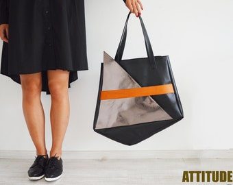 New Geometric Bag,Valentine's gift,Vegan Tote,Faux-leather bag,Black Tote,Silver Bag with Zipper,Minimalist bag,ATTITUDE157 Bag,AT0369
