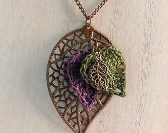 Crocheted Leaf Necklace/ Purple and Green Necklace/ Handmade Jewelry with Leaf Pendant