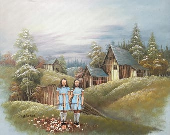 Creepy The Shining Twins Parody - Altered Repurposed Thrift Art Print, Poster, Canvas - Funny The Shining Grady Twins Horror Movie Fan Gift