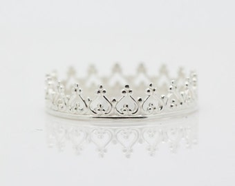 Silver Crown Ring - Sterling Silver 925 Queen Princess Stacking Rings Handmade Polished Silver