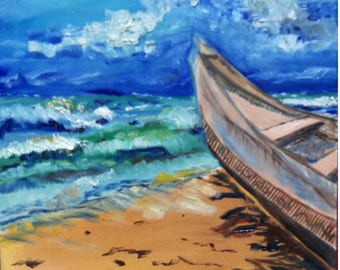 Sea and boat-mixed technique - canvas