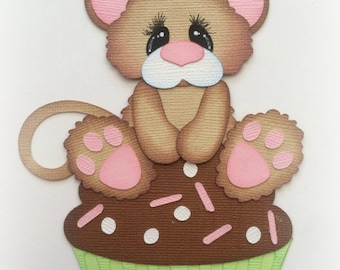 Birthday mouse on cupcake choose boy or girl premade paper piecing scrapbooking embellishment by My tear bears by Kira