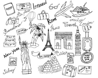 "Doodle Travel clipart: ""TRAVEL CLIP ART"" Holiday clipart,Suitcase clipart,Eiffel tower,Cruising clipart,Statue of liberty,Piramid clipart"
