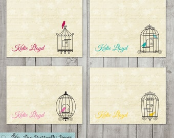 Birdcage Note Cards Personalized Note Cards Personalized Stationary Birdcages Bird Note Cards
