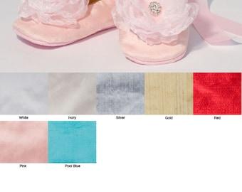 Pink Silk Baby Shoes, Rose Quartz Toddler Ballet Slipper, Little Girl Ballet Flat, Silk Flower Girl Shoe, Girls Wedding Shoe, Baby Souls