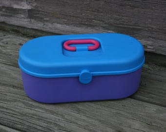 Purple Blue and Pink Hard Plastic Cosmetic Case 1990s Caboodle Caboodles Sassaby Makeup Train Cases 90s Girl Toys Accessories