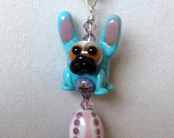 Easter Pug with Easter Egg Lampwork Necklace OOAK