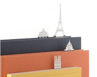 Paris architectural bookmarks: Tour Eiffel, Sacré Coeur, Le Pathéon and Cathédrale Notre Dame de Paris.