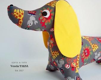 Stuffed dog, Toy dachshund, Dachshund Dog,  Soft toy dog,  Stuffed Dog Sewed,  Stuffed eco dog,  Handmade toy,  Gift box,  Greeting card