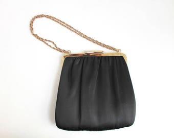Black Purse, Satin Purse, Black Satin Purse, Black Evening Purse, Black Evening Bag, Evening Bag, Black & Gold Purse, Wedding Purse, Bridal