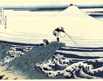 "Japanese Ukiyo-e Woodblock print, Hokusai, ""Kajikazawa in Kai Province"""