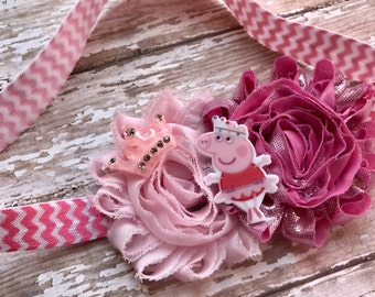 Peppa Pig Infant/Children's Headband: Pink chiffon flowers on a Pink chevron print headband Baby, Toddler, Children's, Girl's