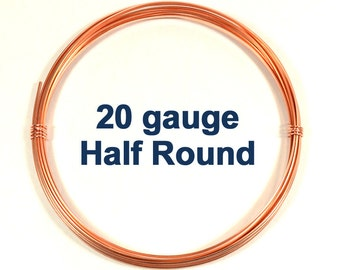 20ga HR DS Half Round Copper Wire - Choose Your Length
