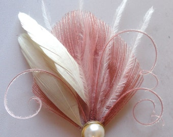 CIRQUE Blush Pink and Ivory Mini Peacock Feather Hair Clip, Feather Fascinator