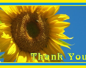 Giant Sunflower With Bee Thank You Card