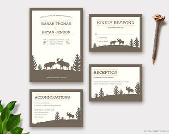 Moose Wedding Invitation Printable, Woodland Wedding Invitations, Rustic Customizable Colors
