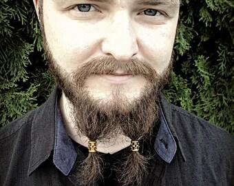 5 Bead Beard Bead KIT beard rings viking beard beads biker beard beads Celtic beard beads beard care beard accessories beard kit