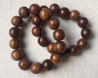Dark Brown Chunky Wooden Beaded Stretch Bracelet