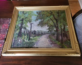 Vintage Thick Oil on Canvas Framed Indiana Artist Harry R Townsend Fountain City Landscape Country Road Power Lines 1930's Signed Lower Left
