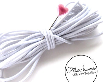 2.5mm Round Hat Elastic for Fascinators & Millinery - White
