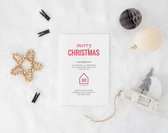 Christmas Gift Card for Custom House Portrait, gift certificate, custom illustration, last minute gift, personalized gift, holiday cards