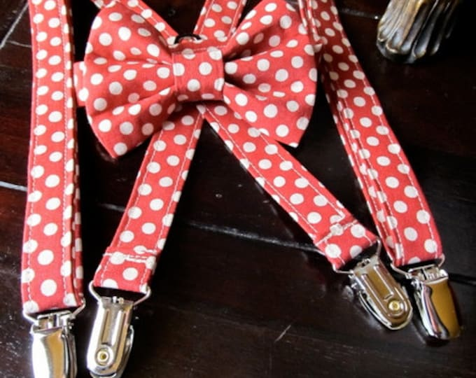 Vintage Red and Beige Polka Dot Bow tie and Suspender Set, Bow tie, Suspender