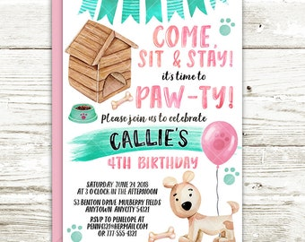 Puppy Party Birthday Invitation, Dog Puppy Paw-Ty Birthday Party Invite, Girl Pink Mint Adopt A Puppy Printable Birthday Invitation