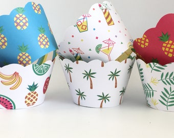 Fiesta Cupcake Wrappers, Summer, Pineapples, Palm Trees, Cocktails