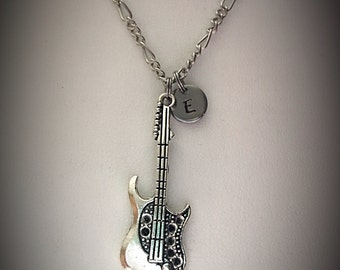 Personalized guitar necklace * charm necklace * guitar charm necklace * musical necklace * guitar charm * initial charm * monogram