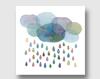 greeting card, art card, cloud rain, watercolor art reproduction, giclee