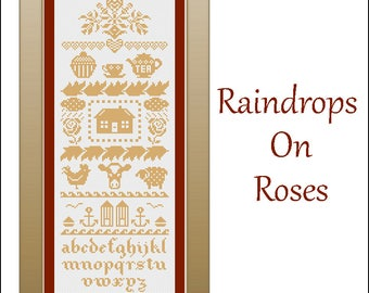 Raindrops On Roses Cross Stitch Pattern By Wending Stitches