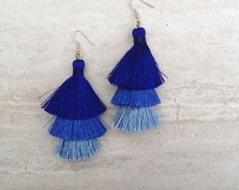 Silk Tassel Stack Earrings Blue Ombre Combo Tassle Earrings BlueTassle Earings BOHO Earrings, Wholesale Jewelry Earrings Handmade