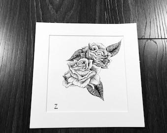 Rose drawing, flower drawing, nature art, creative artwork, detailed drawings, art