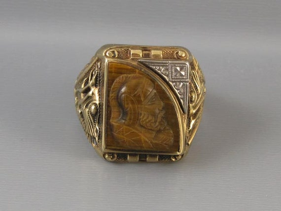 Mans vintage 1937 Art Deco asymmetrical tiger eye quartz 10k cameo ring signed Gothic Kinsley & Sons, size 10