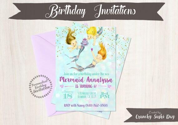 Vintage Mermaid Customizable Birthday Invitations, Mermaid, Beach, Girl Birthday, Ocean, Printable Invitations, Glitter, Purple, Teal 050
